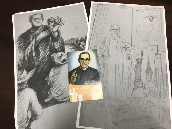 Consul General of El Salvador in Manhattan, José Vicente Chinchilla, It shows the sketch of the mural in honor of the canonization of Archbishop Romero