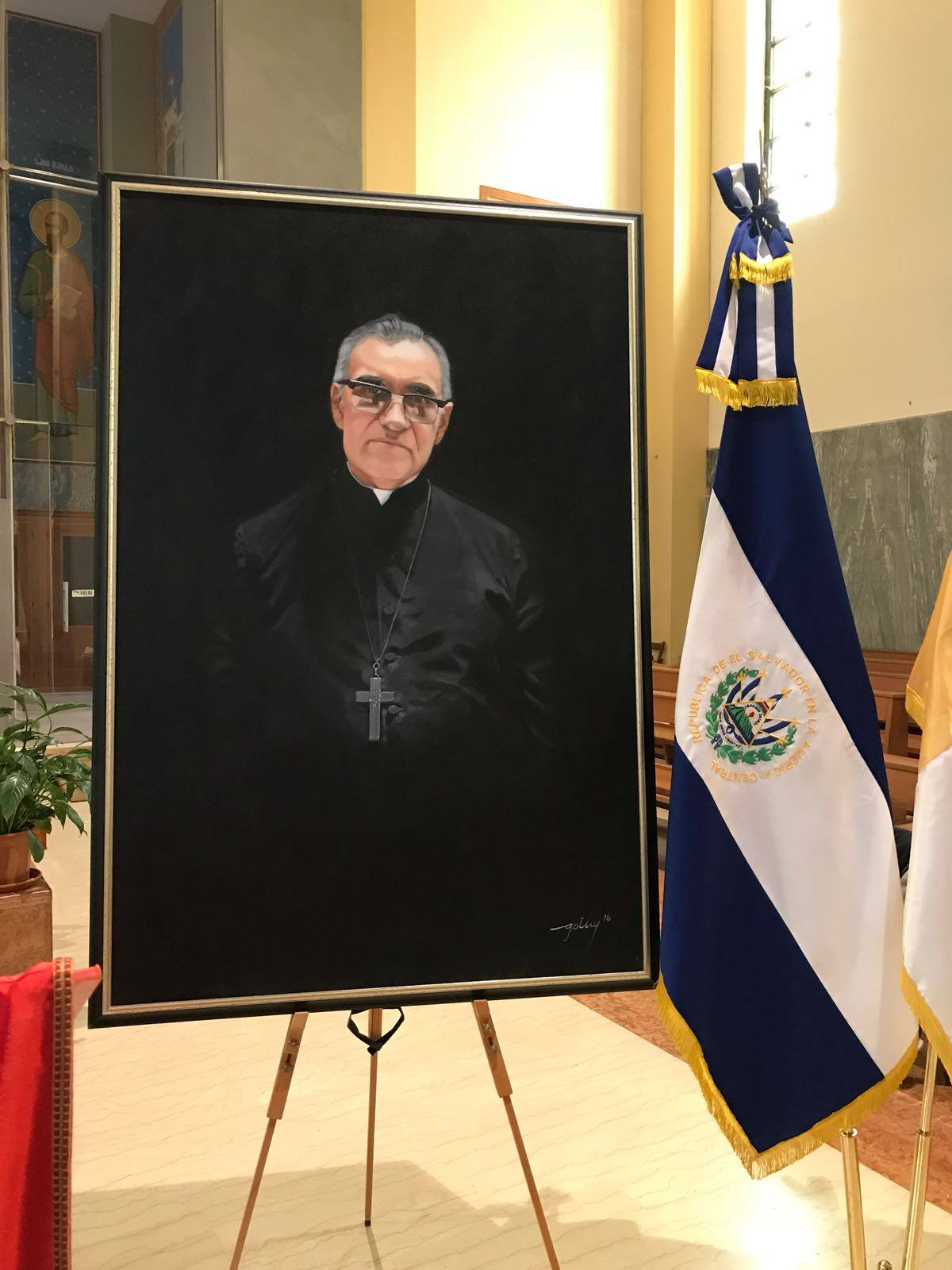 Oscar Arnulfo Romero portrait, by the Salvadoran painter Gothy, delivered to the Vatican